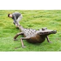 """Tic-Tocadile"" Iron Garden Sculpture of an American Crocodile"
