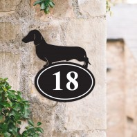 Dachshund Iron House Number Sign
