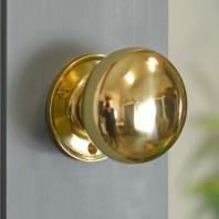 60mm Round Polished Brass Door Knobs