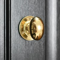 Polished Brass Contemporary Oval Door Knobs