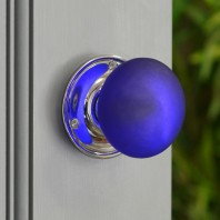 Blue Frosted Glass Door Knob - Bright Chrome
