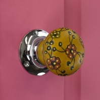 Brown and Red Flower Contemporary Bright Chrome Door Knob