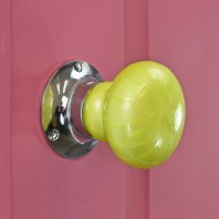 Lime Green Bright Chrome Ceramic Door Knob