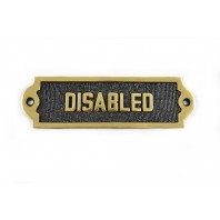 "Solid Brass ""Disabled"" Bathroom Sign"