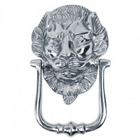 """Downing Street Lion"" Bright Chrome Door Knocker"