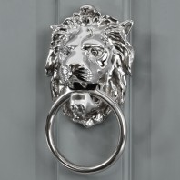 Bright Chrome Lion Door Knocker