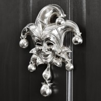 Bright Chrome Jester Door Knocker