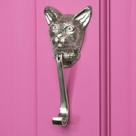 Bright Chrome Cat Head Door Knocker