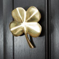 4 Leaf Clover Door Knocker In Polished Brass
