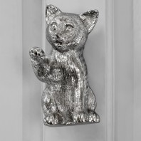 Bright Chrome Cat Door Knocker