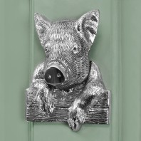 Bright Chrome Percy Pig Door Knocker