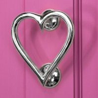Bright Chrome Heart Door Knocker