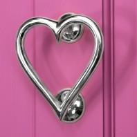 Bright Chrome Heart Door Knocker
