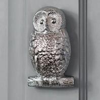 Bright Chrome Owl Door Knocker
