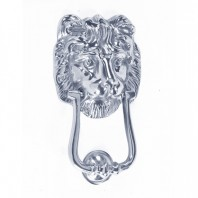 """Mayfair Lion"" Bright Chrome Door knocker"