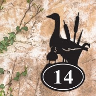 Duck Iron House Number Sign