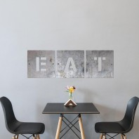 'EAT' Scrabble Square Letters- Unfinished Metal