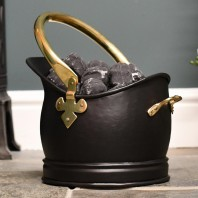 Polished Brass & Black Iron Traditional Coal Bucket - 19cm