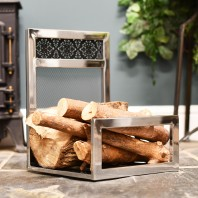 """Hinburn House"" Contemporary Stainless Steel Log Holder"