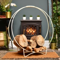 """Harewood Park"" Cream Contemporary Wrought Iron Log Holder"