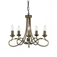 """Midendale Manor"" Five Bulb Burnished Gold Leaf Design Chandelier"