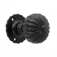 Traditional Black Door Knob Set with Floral Back Plate