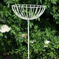 """Bluebell Blooms"" Cream Flower Basket on Spike"