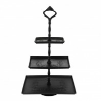"""Riverhill Park"" Black Three Tier Cake Stand"