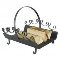 Black Steel Ornate Log Rack & Holder