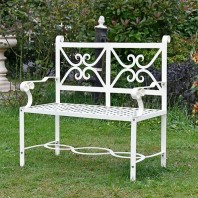 """Sissy Jane"" Wrought Iron Cream Garden Bench"