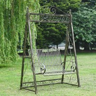 """Antique Black and Gold """"Briar Rose"""" Garden Swing Seat"""
