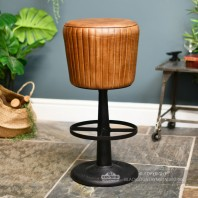 """The Alford"" Genuine Brown Leather & Iron Bar Stool"