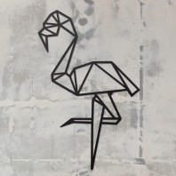 Geometric Flamingo Steel Wall Art