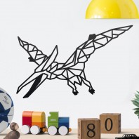 Geometric Steel Pterodactyl Wall Art - 34cm