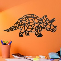 Geometric Steel Triceratops Wall Art - 15cm