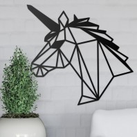 Geometric Steel Unicorn Wall Art