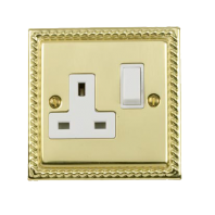 Georgian Style Single Switched Plug Socket