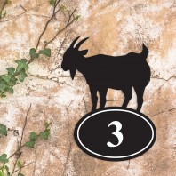 Mountain Goat Iron House Number Sign