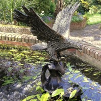 Gold Eagle On Water Garden Sculpture