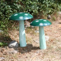 Green Hand Painted Steel Mushroom Sculpture
