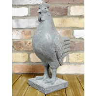 Rustic Grey Cockerel Garden Sculpture