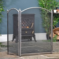 Hanbury Three Fold Black & Brushed Steel Fire Guard