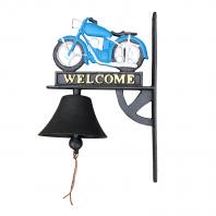 Cast Iron Hand Painted Blue Motorbike Garden Bell