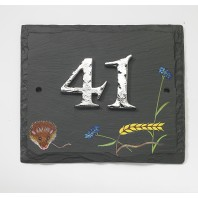 "Hand Painted ""Harvest Mouse"" Slate Number Sign"