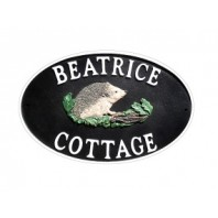 "Double sided Cast Iron Effect Hanging ""Hedgehog"" House Name Sign"