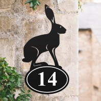 Hare Iron House Number Sign