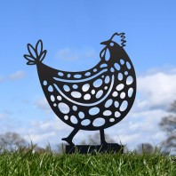 Black Clucking Spotted Hen Silhouette