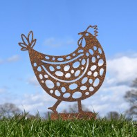 Rustic Clucking Spotted Hen Silhouette