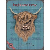 Retro Metal Wall Art Featuring a Highland Cow