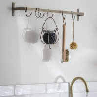 Industrial Steel Kitchen Hook Rack